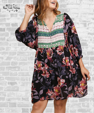 Mix Print Floral Dress - Black