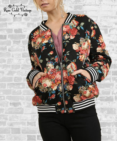 Quilted Floral Bomber Jacket - Black