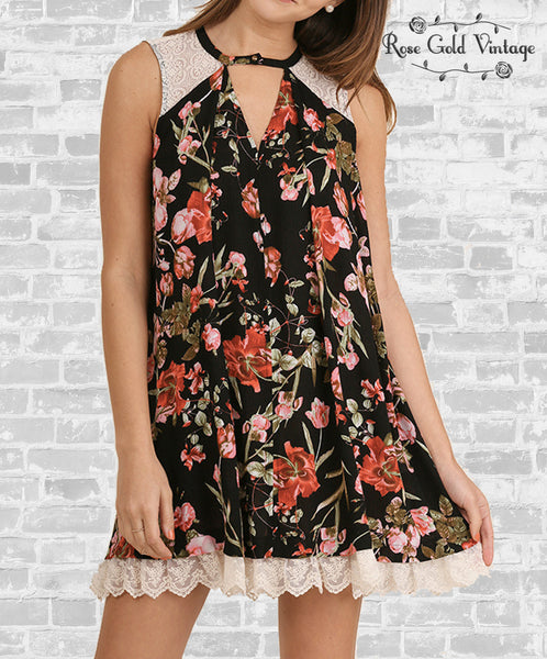 Floral & Lace Keyhole Dress
