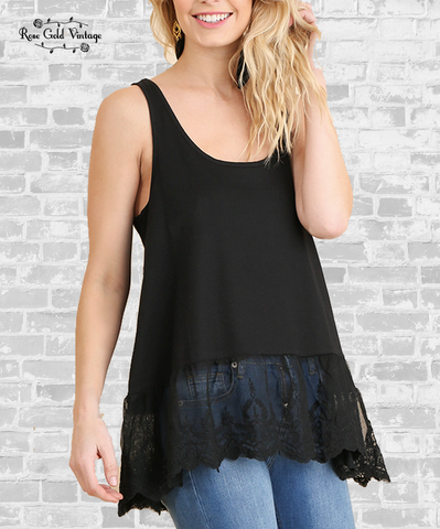 Lace Trim Extender Tank - Black