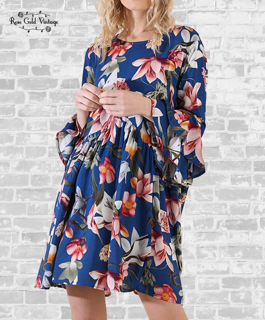 Ruffle Sleeve Floral Dress - Blue