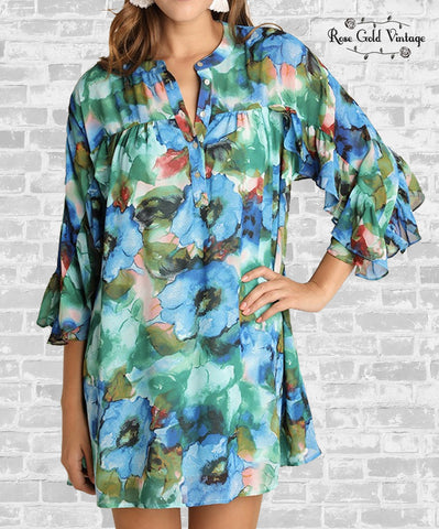 Watercolor Floral Ruffle Dress - Blue & Green