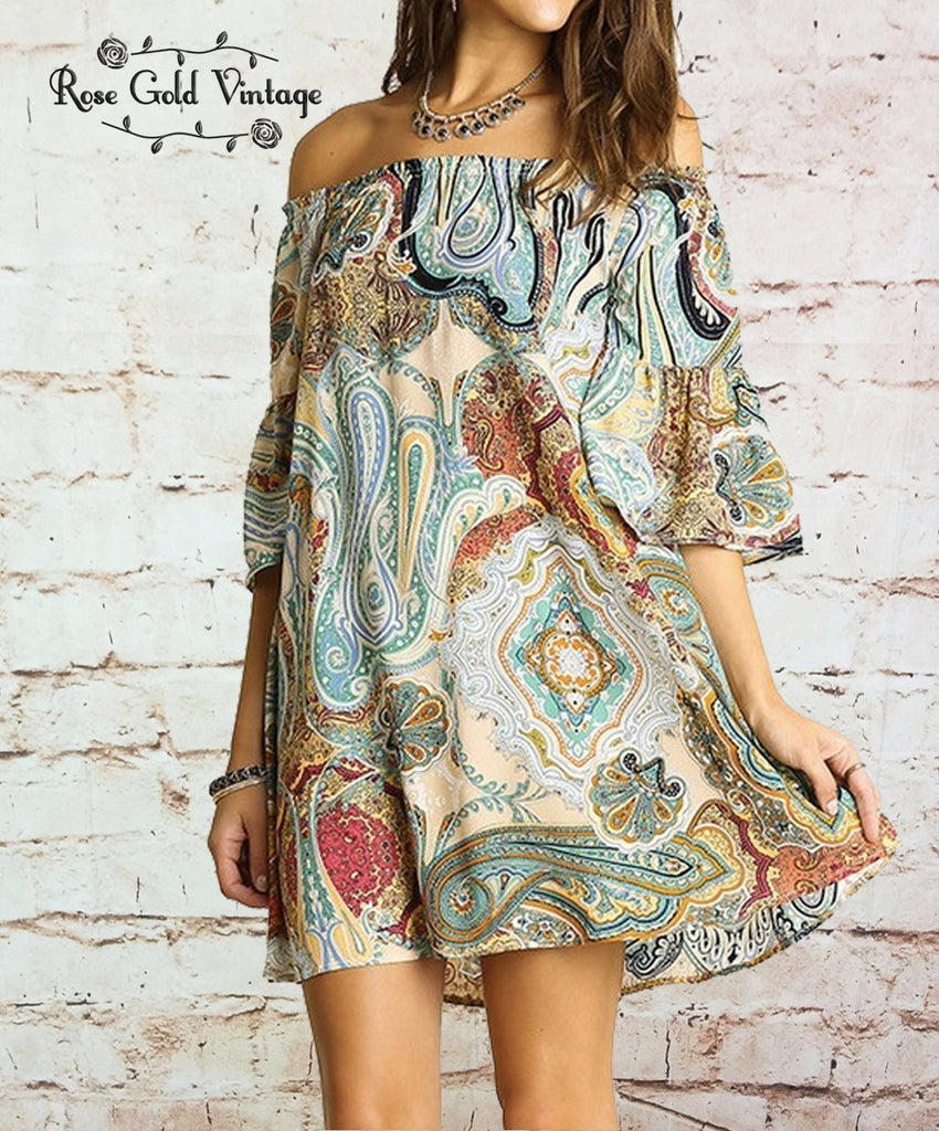 Off Shoulder Boho Dress - Mustard