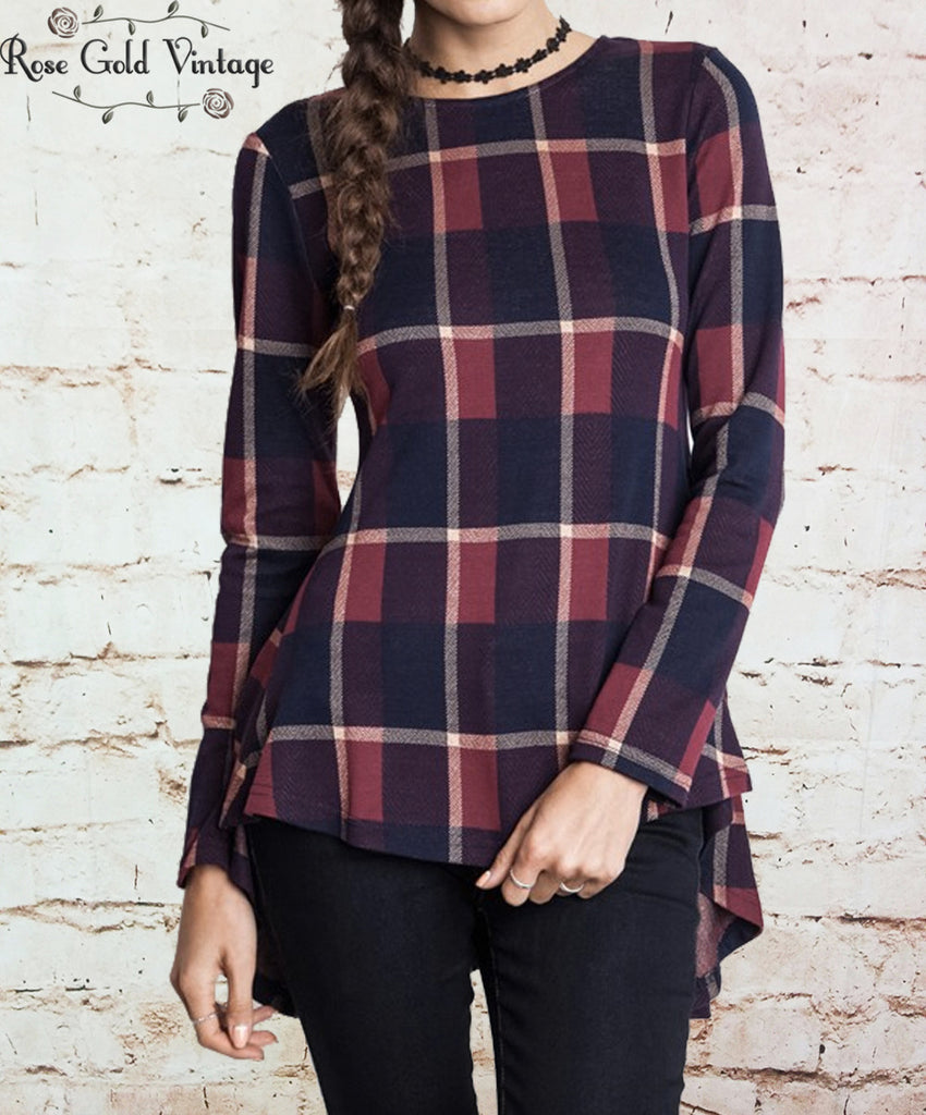Plaid Peplum Top - Burgundy