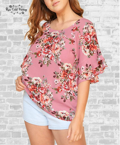 Ruffle Sleeve Crepe Top - Pink Floral
