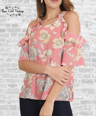 Cold Shoulder Ruffle Top - Coral Floral
