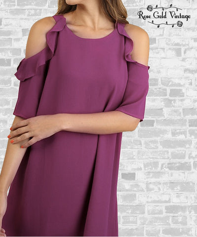 Ruffle Cold Shoulder Dress - Magenta