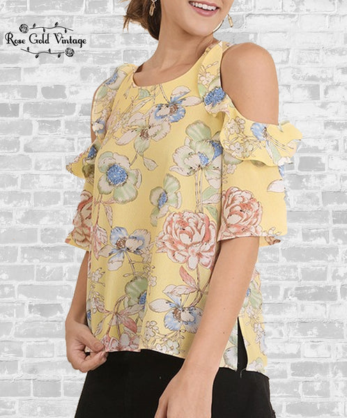Cold Shoulder Ruffle Top - Yellow Floral