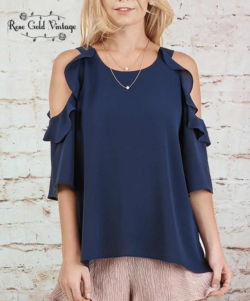 Cold Shoulder Ruffle Top - Navy