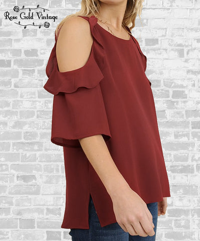 Cold Shoulder Ruffle Top - Wine