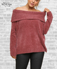 Chenille Off Shoulder Sweater - Dusty Cedar