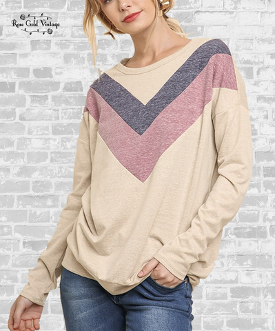 Heathered Chevron Top - Cream