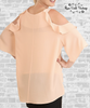 Cold Shoulder Ruffle Top - Bisque