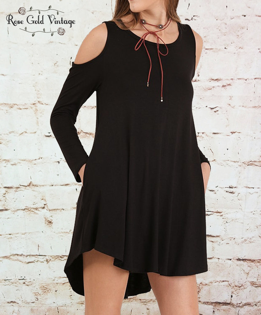 Perfect Pocket Cold Shoulder Tee Dress - Black