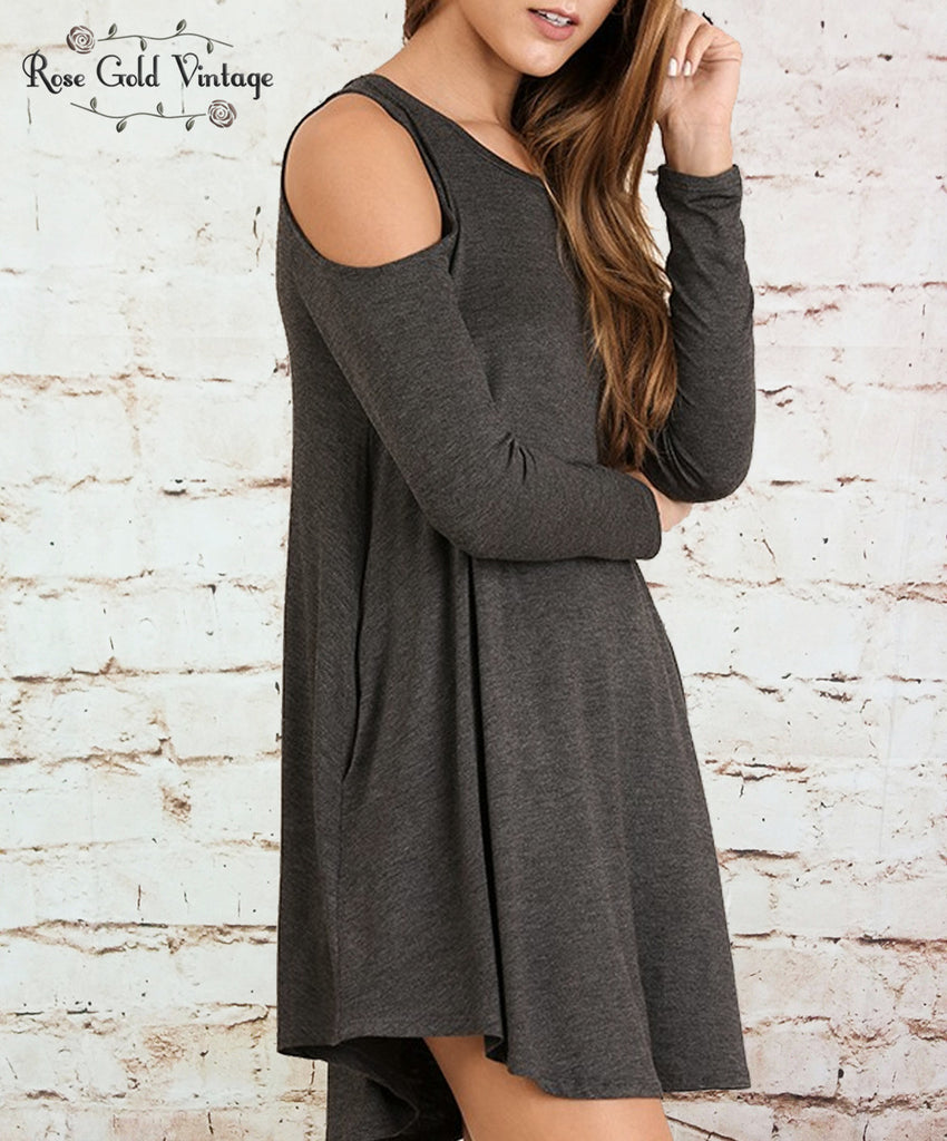 Perfect Pocket Cold Shoulder Tee Dress - Charcoal