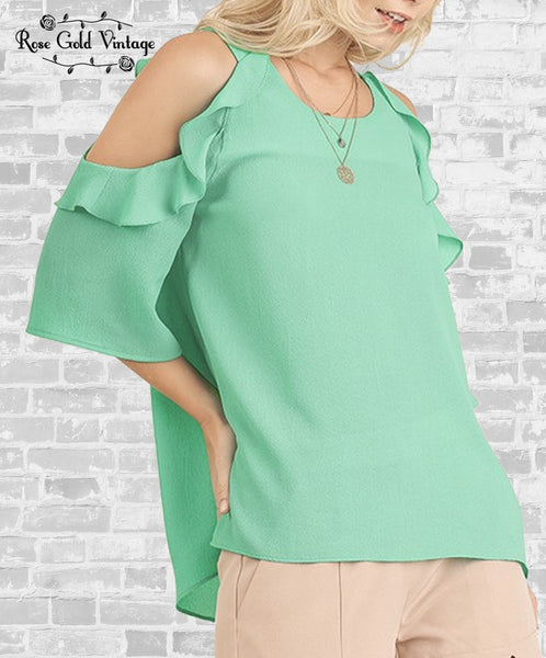Cold Shoulder Ruffle Top - Mint