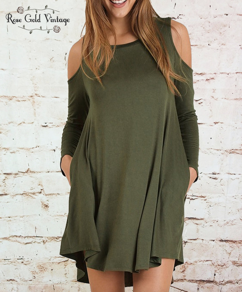 Perfect Pocket Cold Shoulder Tee Dress - Olive
