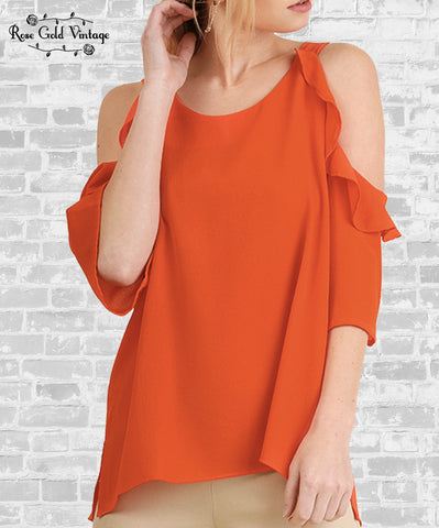 Cold Shoulder Ruffle Top - Orange
