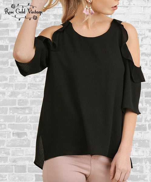 Cold Shoulder Ruffle Top - Black