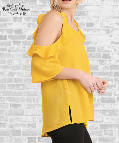 Cold Shoulder Ruffle Top - Yellow