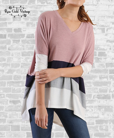 V-Neck Color Block Top - Dusty Rose