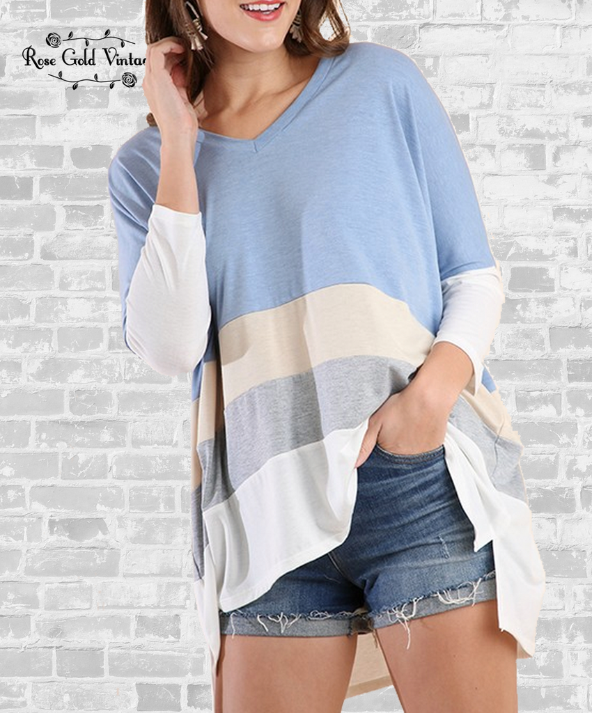 V-Neck Color Block Top - Light Blue