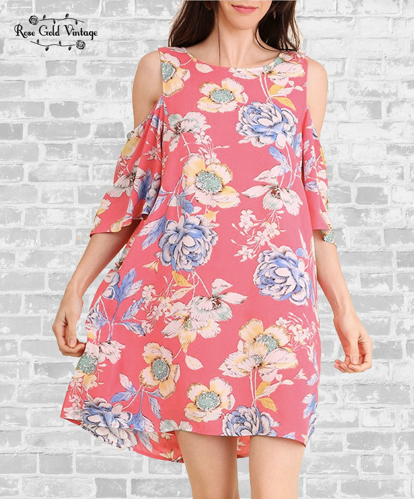 Cold Shoulder Floral Dress - Coral