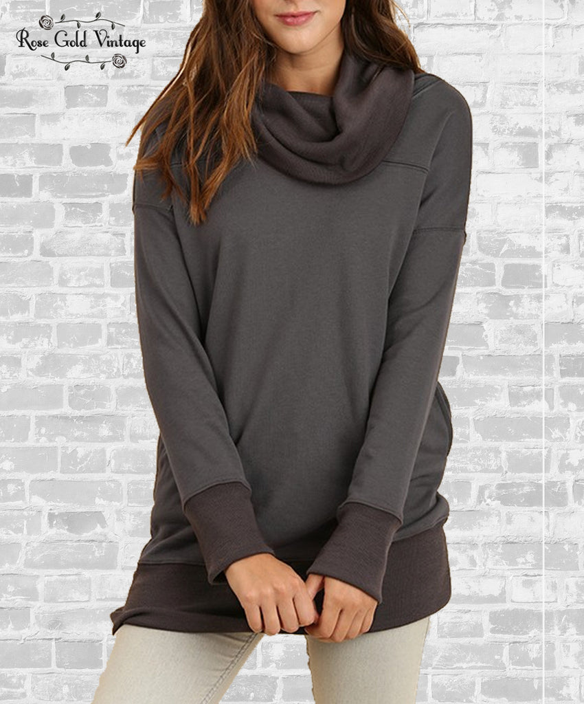 Cozy Cowl Neck Pocket Sweatshirt - Ash