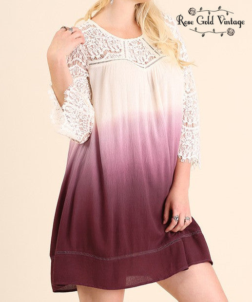 Lace Ombre Dress - Purple