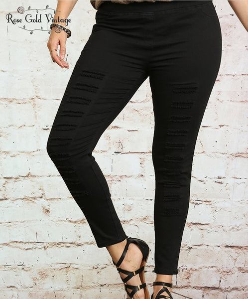 Distressed Moto Leggings - Black