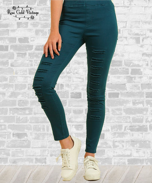 Distressed Moto Jeggings - Teal