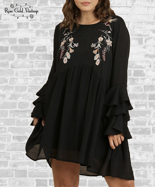 Embroidered Ruffle Sleeve Dress - Black