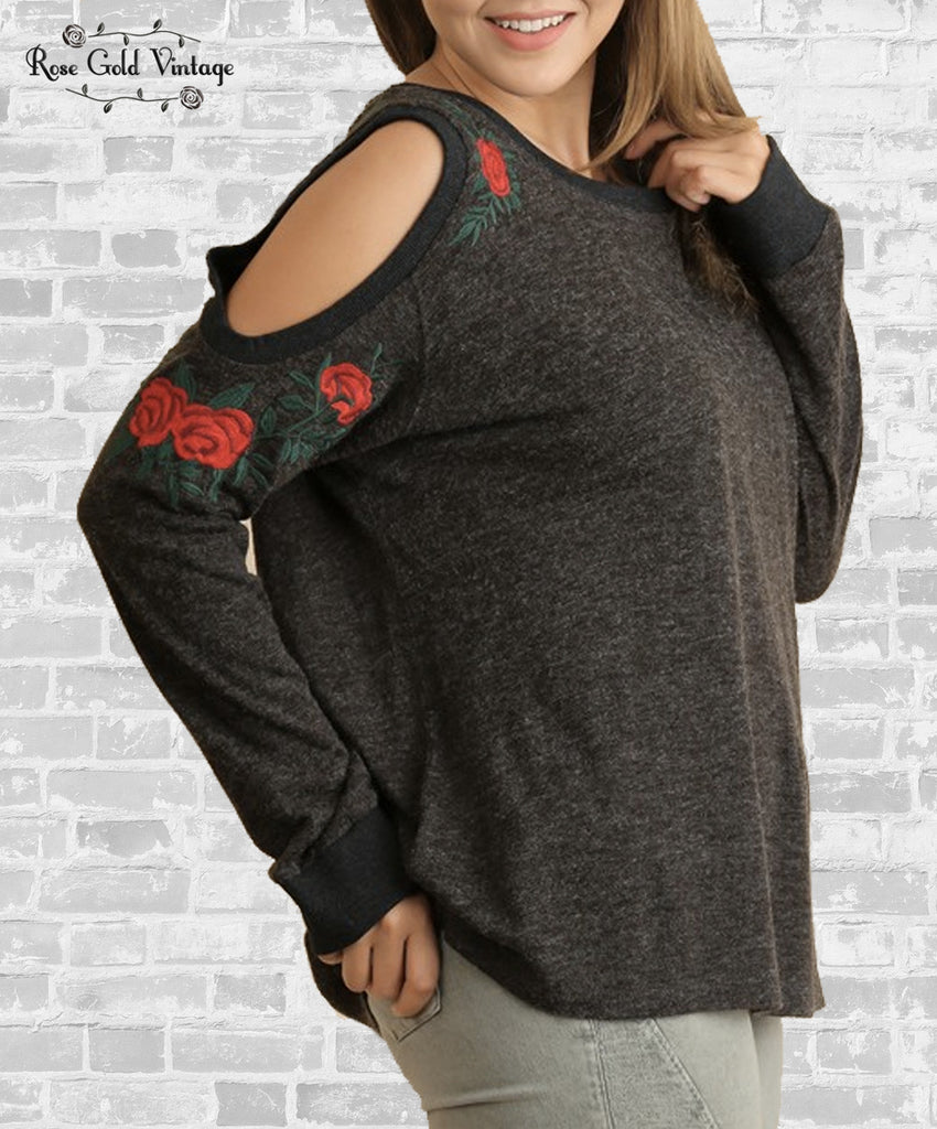 Floral Embroidered Cold Shoulder Top - Charcoal
