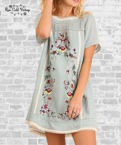 Embroidered Floral Shift Dress - Light Blue