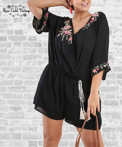 Embroidered Surplice Romper - Black