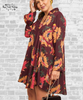 Floral Collared Surplice Dress - Wine