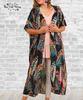 Feather Kimono Duster - Black