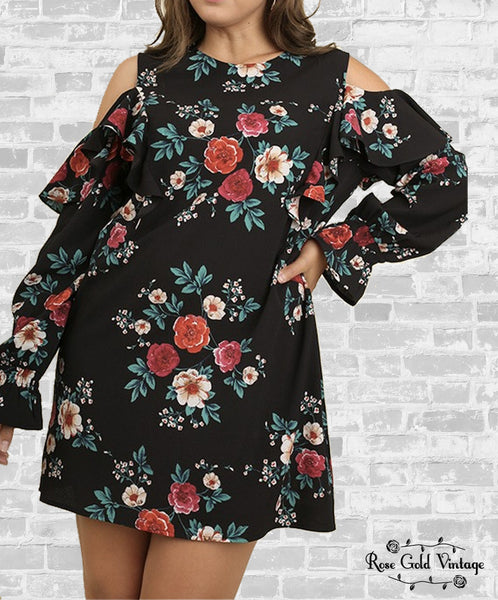 Long Sleeve Cold Shoulder Dress - Black Floral