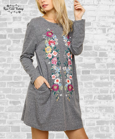 Floral Embroidered Tee Dress - Charcoal