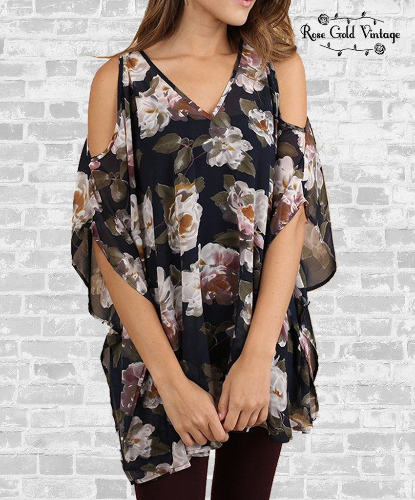 Floral V-Neck Tunic - Navy