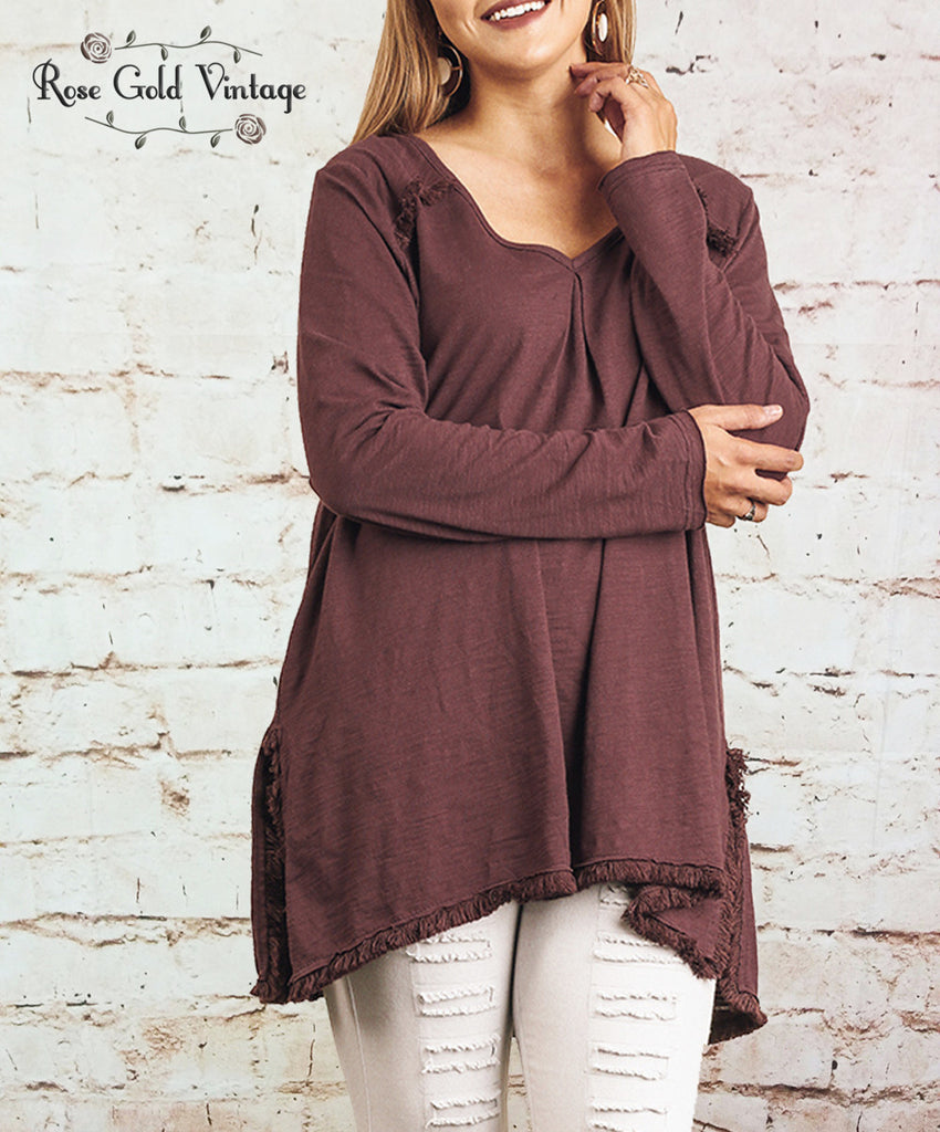 Fringe V-Neck Tunic - Wine