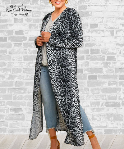 Long Cardigan Duster - Gray Cheetah