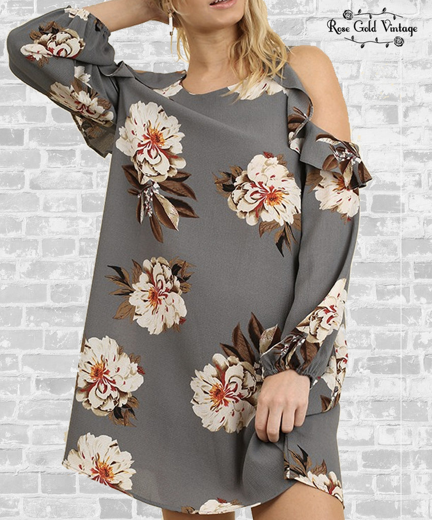 Cold Shoulder Ruffle Dress - Gray Floral
