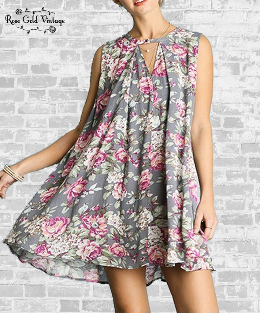 Gray Floral Swing Dress (Ladies)