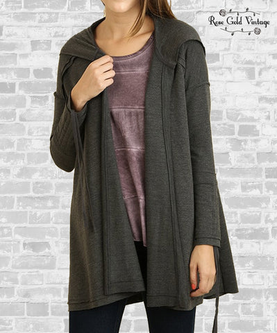 Seamed Wrap Hoodie - Charcoal