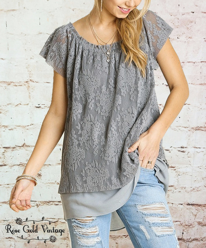 Wide Neck Layered Lace Top - Gray (Ladies)
