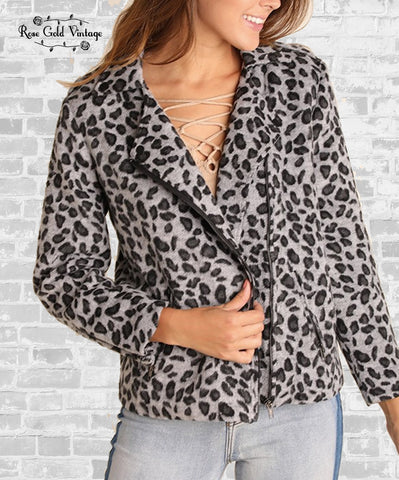 Leopard Zip Moto Jacket - Gray