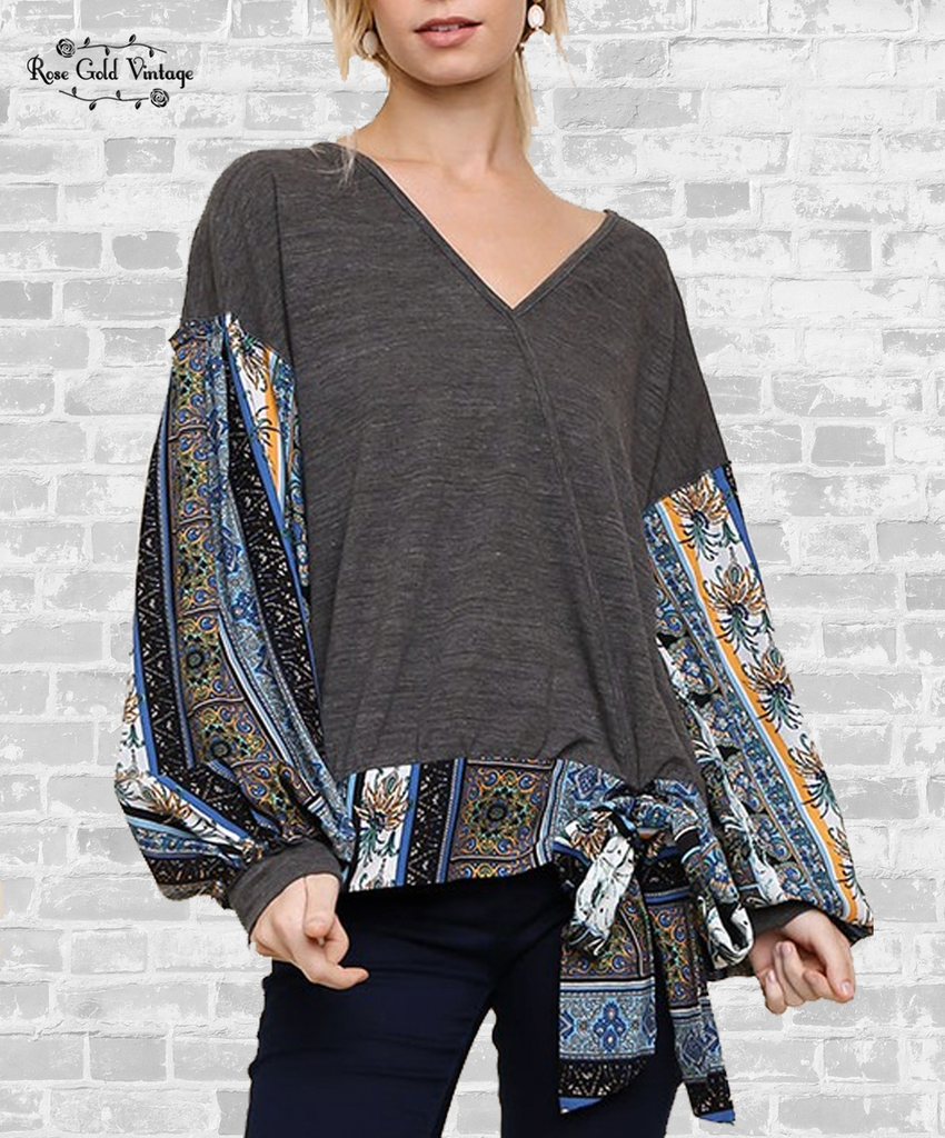 Tie Front Paisley Wrap Top - Charcoal
