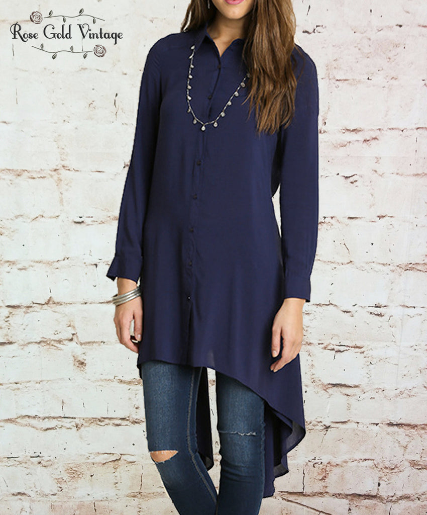 Hi-Low Button Up Tunic - Navy