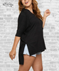 Hi-Low 3/4 Sleeve Tunic Top - Black